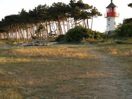Hiddensee, Lighthouse, Wooden Bench