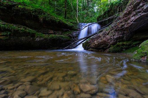 Nature, Landscape, Waterfall, Forest, Idyllic, Scenic