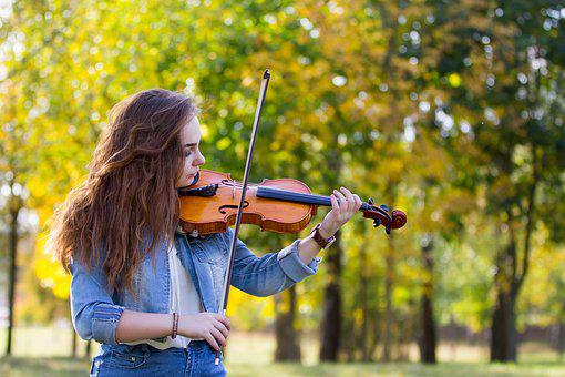 Autumn, Girl, Violin, Play, Music, In The Fall Of