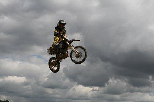 Motocross, Jump, Motorsor, Motorcycle, Sport, Driver