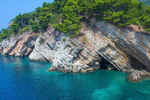 Petrovac, Cliff, Roche, Montenegro, Turquoise, Summer