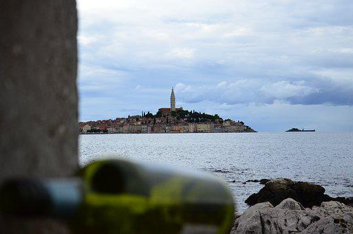 Rovinj, Croatia, City, Wine Bottle, Istria, Sea