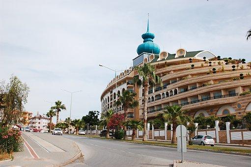 Turkey, Side, Palm Trees, Road, Hotel, Antiquity