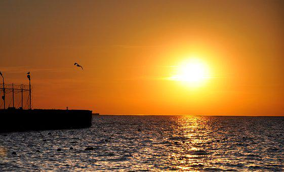 Sea, Sunset, Marina, Evening, Horizon