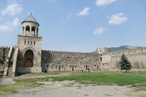 Georgia, Mtskheta, Church, Cathedral, Tower, Wall