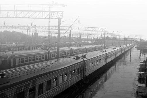 Train, Bw, Fog, Transport, Travel, Sky, Sad, Monochrome