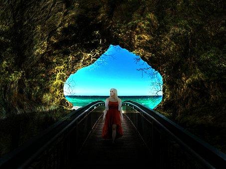 Cave, Woman, Walking, Composing, Dark, Rocks, Sea