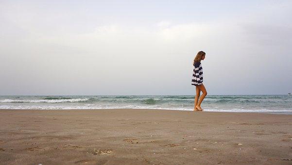 Walk, Beach, Andar, Clouds, August, Sand, Landscape