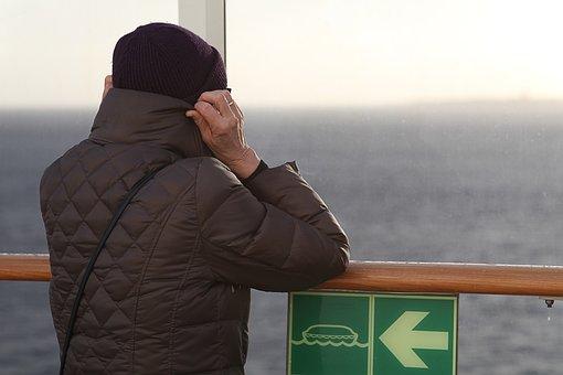 View, Ferry, Cold, Horizon, Baltic Sea, On Bord