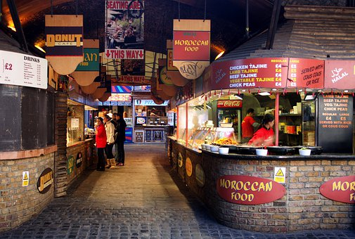 London, England, Eateries, Café, Food, Night, Outside