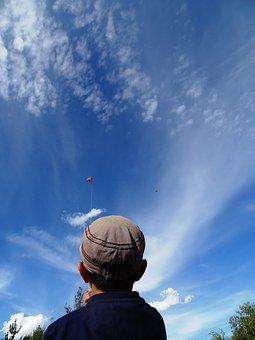 Kite, Child, Height, Game, Childhood, Sky, Cloud