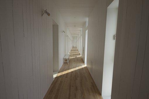 Hallway, Corridor, White, Parquet, Bench, Endless