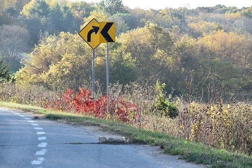 Signs, Corner, Road, Arrow, Traffic, Fall, Autumn