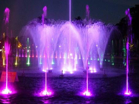 Fountain, Water, Light, Laser, Preview, Flowing Water