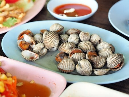 Cockle, Poached Scallop, Food, Isaan Food