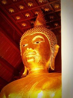 Buddha, Buddah, Thailand, Tibet, Gold, Golden, Closeup