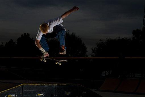 Skateboard, Grab, Air, Jump, Skateboarder, Trick, Man