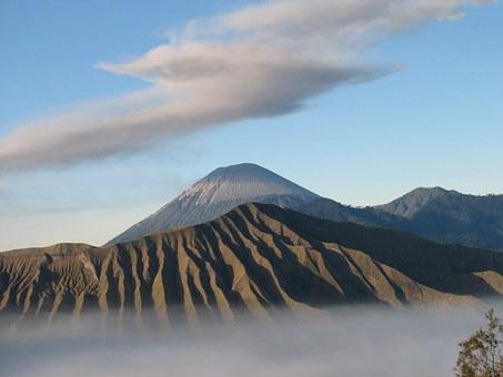 Volcano, Indonesia, Clouds, Bromo