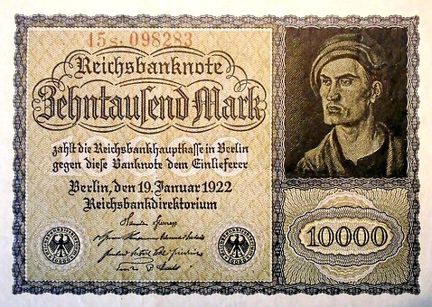 Inflation, Money, 1922, Imperial Banknote, Germany