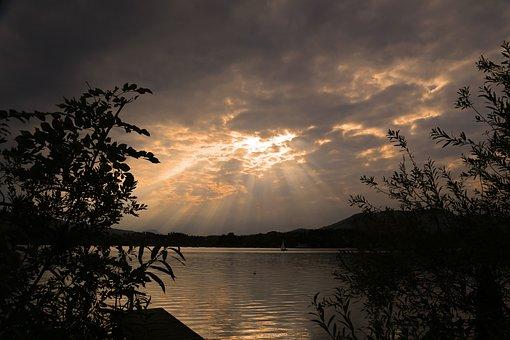 Landscape, Nature, Lake, Sunset, Summer, Clouds