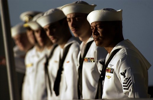 Us Navy, Sailors, Lined Up, Line, Row, Military