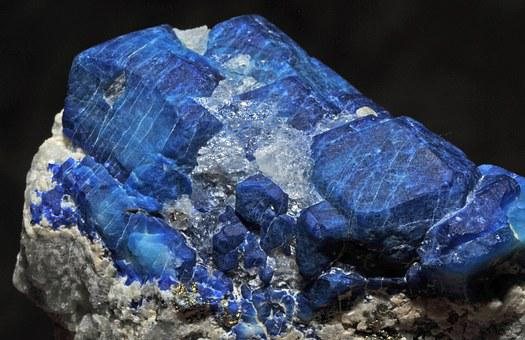 Afghanite, Crystal, Calcite, Pyrite, Mineral, Blue