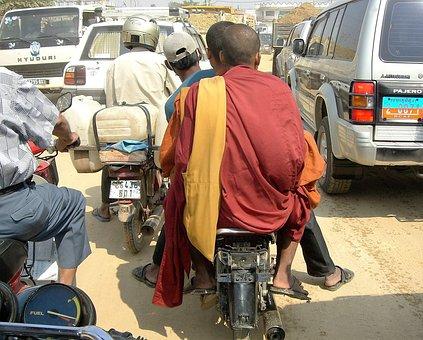 Transport, Moped, Monk, Traffic Jam, Laos
