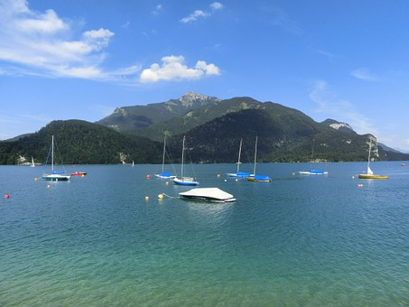 Mondsee, Water, Mountains, Nice Weather, Boats, Quiet