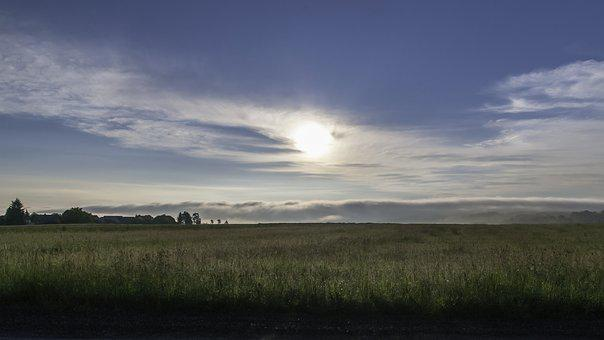 Sky, Sunrise, Meadow, Clouds, Nature, Morgenstimmung