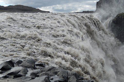 Waterfall, Dettifoss, Power, Amount Of Water