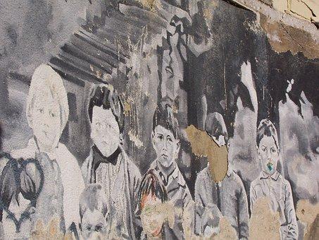 Children, School, Schoolboy, Wall, Dirty, Misery