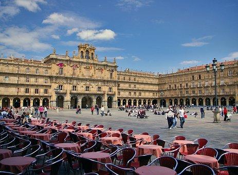 Salamanca, Plaza Mayor, Chairs, Tables, Square, Spain