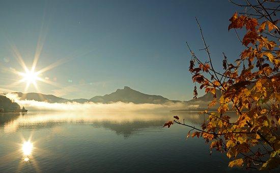 Landscape, Lake, Nature, Bank, Water, Trees, Mountains