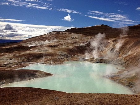 Volcano, Lake, Volcanic Activity, Crater, Iceland