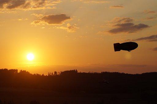 Montgolfiade, Airship, Flying, Abendstimmung, Sunset