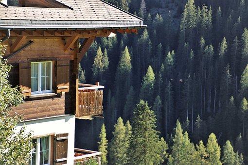 Wooden House, Alpine Village, Mountains, Pine, Davos