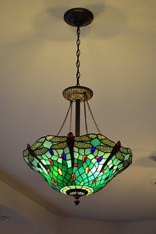 Lamp, Light, Ceiling, Art, Glass, Art Deco, Energy