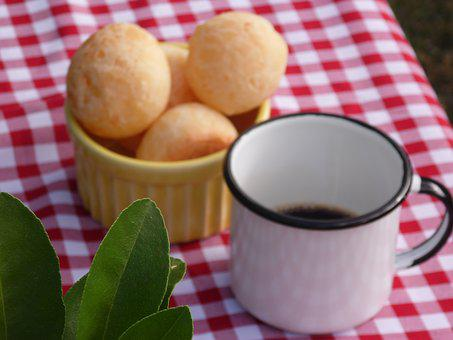 Cheese Bread, Snack, Breakfast, Basket, Mug