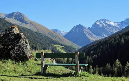 Sit, Relaxation, Landscape, Bench, Mountains, See