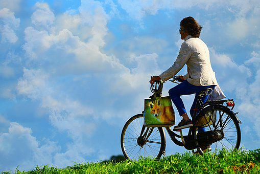 Woman, Person, Cyclist, Bicycle, Movement, Exertion