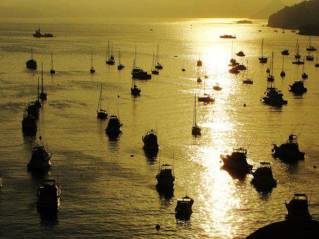 Dusk, Baia De Guanabara, Guanabara Bay, Boats