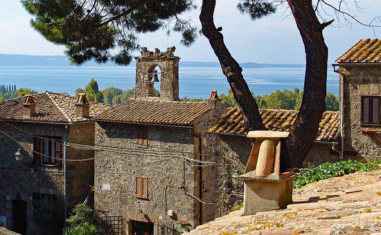 Italy, Bolsena, Lake, Historic Center, Church, Houses