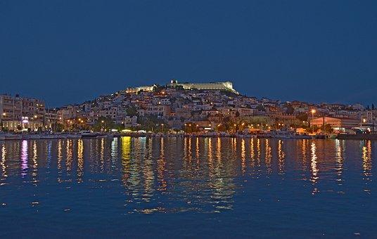 Kavala, City, Seaside, Greece, Coast, Castle, Tourist