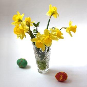 Daffodils, Daffodil, Flower, Egg, Easter, Vase