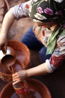 Woman, Handmade, Pot, Mud, Ceramic, Design, Worker, Wet