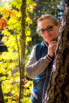 Fall, Woman, Behind, Tree, Standing, Glasses, Smiling