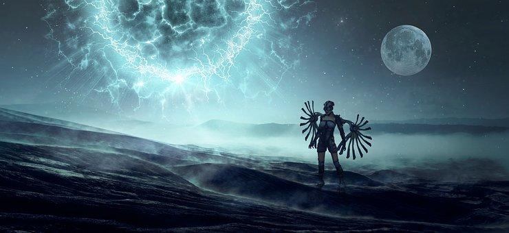 Fantasy, Science Fiction, Planet, Sun, Moon, Light, Sky