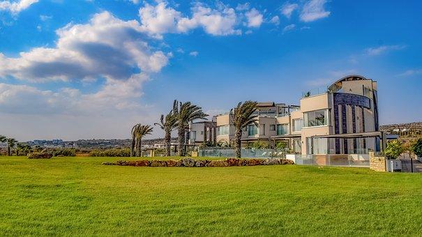 Villas, Building, Architecture, Property, Grass, Green