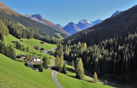 Mountains, Top, Way, Alpine Village, High, Davos, Pine