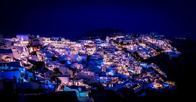 Santorini, Night, Greece, Travel, Summer, Ia, Tourism